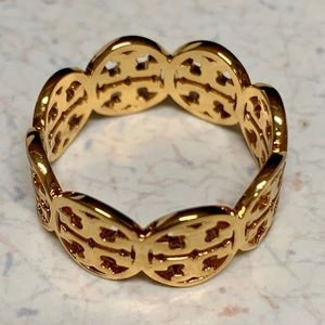 TORY BURCH KINSLEY CUT-OUT GOLD PLATED RING SIZE 6